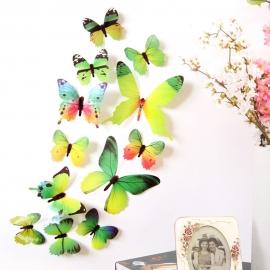 3D metuljčki za dekoracijo doma, zeleni