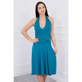 Obleka z globokim dekoltejem 60941, morsko modra