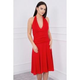 Obleka z globokim dekoltejem 60941, rdeča