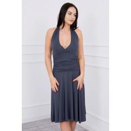 Obleka z globokim dekoltejem 60941, temno siva