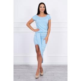 Asimetrična obleka s kratkimi rokavi 61524, svetlo modra