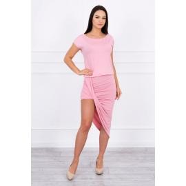 Asimetrična obleka s kratkimi rokavi 61524, puder roza