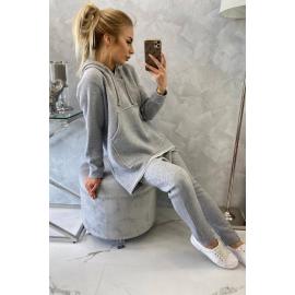 Ženski komplet z baggy hlačami 8944, siv