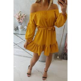 Obleka z vezavo v pasu 9033, gorčično rumena