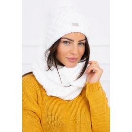 Ženska kapa in šal K119, bela