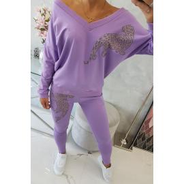 Ženski športni komplet z leopardom iz cirkonov 9131, vijolična