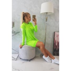 Obleka z belim napisom na rokavih 62072, neonsko zelena
