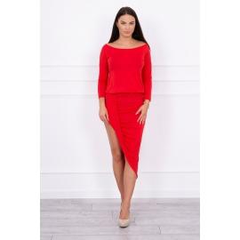 Asimetrična obleka s ¾ rokavi 8923, rdeča