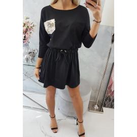 Obleka z bleščečim žepom 9004, črna