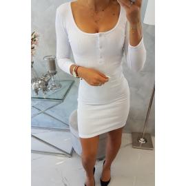 Obleka z gumbi na dekolteju 8975, bela