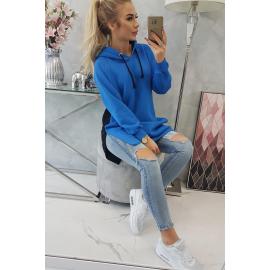 Dvobarvna obleka s kapuco 9149, modra