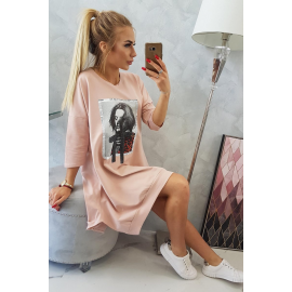 Obleka s printom in širokim dnom 9007, temna puder roza