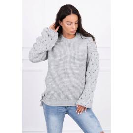 Ženski pleten pulover s pentljicami 2019-4, siv
