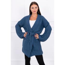 Ženska pletena jopica z žepi 2019-8N, jeans modra