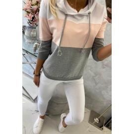 Ženski komplet z večbarvno jopico 8877, bela/svetlo roza